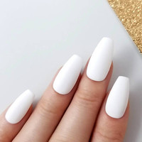 Matte white Press on nails - Reusable manicure - Any shape - Coffin Stiletto Almond Oval Round - Long Medium Short - Custom fake nails
