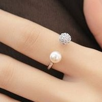 Pearl And Shine Fashion Finger Cuff Ring