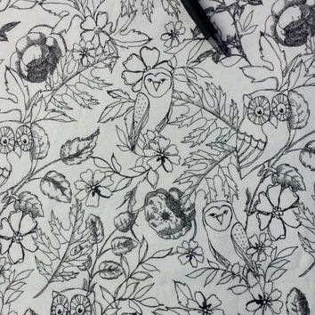 Flannel fabric with owls in trees black white owl print cotton quilt quilting sewing material to sew by the yard crafting craft