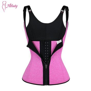 Atbuty Hot Shaper Vest Slimming Zipper and Hooks Waist Cincher Corset Loss Weight Neoprene Waist Trainer with Straps