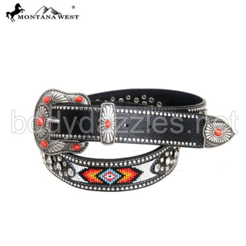 Belt Montana West Western Aztec Hand Beaded Collection Belts Leather