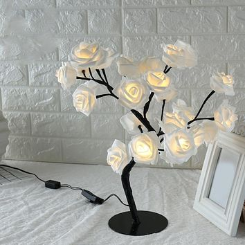 Table lamp led  3d Rose  Fairy  lighting Flower  Decorative  Light for Living  Bedroom Christmas Party Wedding Xmas  -kk
