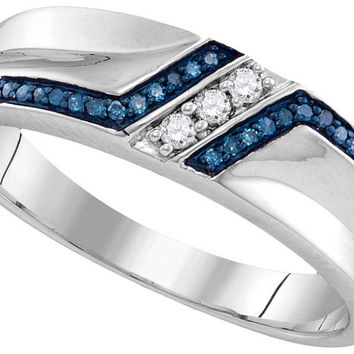 Sterling Silver Mens Round Blue Colored Diamond Wedding Band 1/5 Cttw 110755