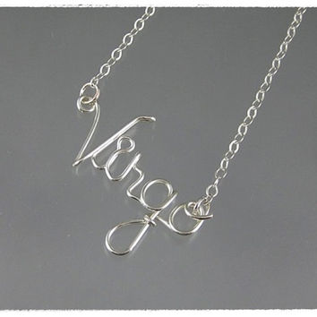 FREE SHIPPING!!!  Virgo Wire Word Pendant Necklace