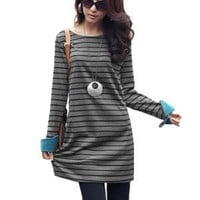 Allegra K Girls Horizontal Stripes Roll Up Cuffs Long Sleeve Leisure Shift Dress