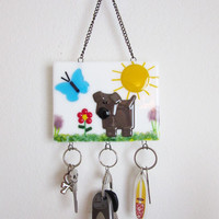 Whimsical Dog Lover Home Decor, Fused Glass Key Rack, Chocolate Lab Lover Gift, Key Chain Holder, Decoration for Dog Lover, Wall Key Holder