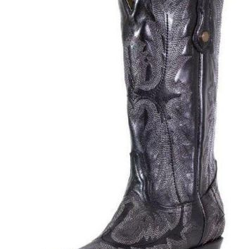 DCCKAB3 Corral Black Picasso Fancy Stitched Snip Toe Boots G1911