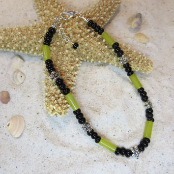 New Jade Olive Green Black Bead and Silver Floral Beads Ankle Bracelet Beach Anklet Summertime Jewelry Sun tan Natural Shell Bohemian Chic