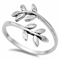 .925 Sterling Silver Leaf Wrap Band Ladies Fashion Ring Size 5-10