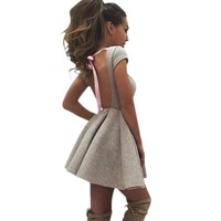 Summer Party Dresses Casual Princess Open Back Bow Backless Dresses O-neck A-Line Women Dresses Vestidos Robes Plus Size