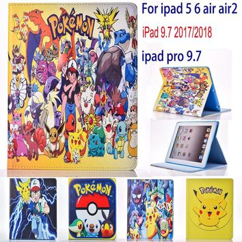 Case for Apple ipad 5 6 air air 2 ipad 9.7 2017 2018 case  Go cute Pikachu tablet PU leather Cover Flip stand coque paraKawaii Pokemon go  AT_89_9
