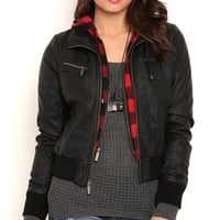 Faux Leather Bomber Jacket with Plaid Hood