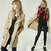 Winter Double Breasted Casual Coat Simple Design Blazer Jacket [4918749316]