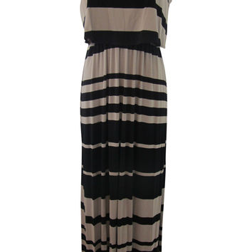 Honey & Rosie Black / Taupe Striped Spaghetti Straps Maxi Dress - Large