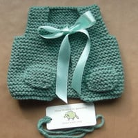 Hand Knitted Baby Girl Vest Gilet Jade Green matching Ribbon Wool Rich New baby girl 0-3 Months Baby Shower gift Ready Now UK Seller