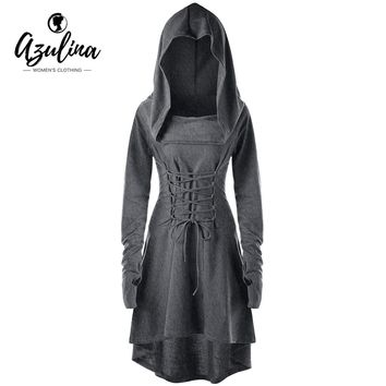 AZULINA Vestidos Gothic 2018 Women Spring Dress Dresses Lace Up Hooded Asymmetrical High Low Dress Bandage Back Robe Femme 5XL