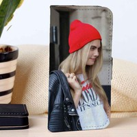 Cara Delevingne With Hat | Fashion Model | custom wallet case for iphone 4/4s 5 5s 5c 6 6plus 7 case and samsung galaxy s3 s4 s5 s6 case