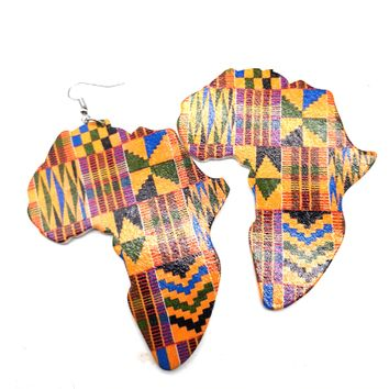 Kente Print Africa earrings | Africa shaped | African | Natural hair | Afrocentric | jewelry