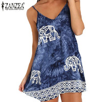 Vestidos 2016 Summer Style Women Fashion Sleeveless Casual Loose Printed A-Line V Neck Mini Dresses Sexy Beachwear Plus Size