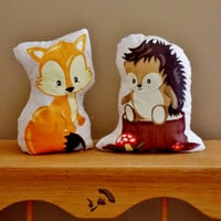 Little Fox and Hedgehog Shelf Sitters. Woodland Animal Decor. Nursery Decor. Set of Two. Baby Shower Gift.