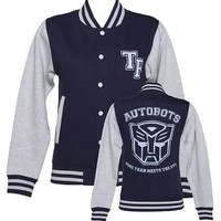 Ladies Transformers Autobots More Than Meets The Eye Varsity Jacket : TruffleShuffle.com