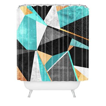 Elisabeth Fredriksson Turquoise Geometry Shower Curtain