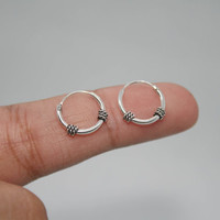 925 Sterling Silver 12mm Tiny Hoop Earrings, Oxidized Hoop Earrings, balinese hoop earrings, Bali Hoops, Helix Hoops, Tragus hoops, hoops