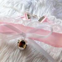 Pink White Lace Bow Cosplay Silver Bell Bdsm Collar Choker Cute Kawaii Costume Kitten Age Play Pet Slave Fetish Kinky Sexy Sissy Halloween