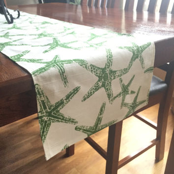 Green Starfish Table Runner - One, Beach Table Decor, Tropical Wedding Table Decor, GreenTable Runner, Ocean Decor