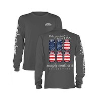 Palmetto Moon | Simply Southern USA Flag Mason Jar Long Sleeve T-shirt | Palmetto Moon