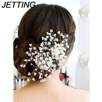 1pc Bridesmaid Bridal Hairpin Women Ladies Floral Wedding Pearl Crystal Party Hair Comb Hairpin Jewelry Hair Accessories