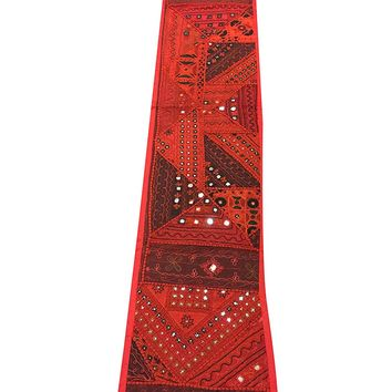Mogul Red Table Runner Embroidered Vintage Style Table Throw Tapestry