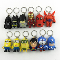 Minions Hulk Olaf Big HerO6 Star Wars Force Awakens Led Flashlight Key Chains Spiderman Batman Superman Captain America Keyring