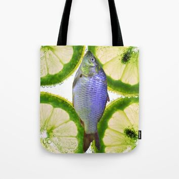 Lime Fish Tote Bag by Azima