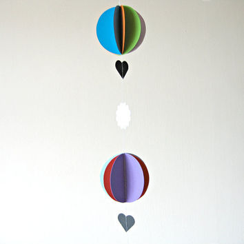 Bright Childrens room decoration - 3d paper hot air balloons and clouds
