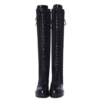 Gothic Womens Leather Lace Up Knee High Punk Motorcycle Stretchy Riding Boots