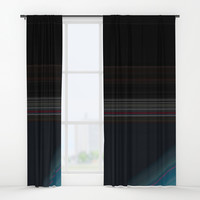 Black and Wine with Bright Blue Accent Window Curtains by Sheila Wenzel
