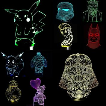 NEW s Star Wars Princess Lisa 3D Lamp LED Night Light USB Skull Colorful Acrylic Kid Baby Deco Christmas Gifts PresentKawaii Pokemon go  AT_89_9