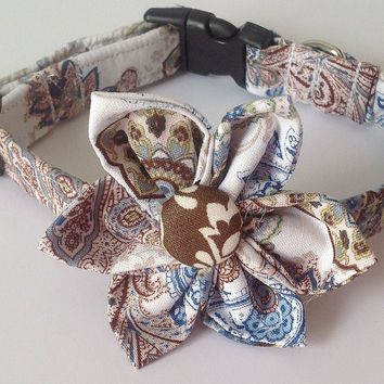 Blue, Brown & White Floral Paisley Flower Collar for Female Dogs and Cats