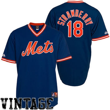 Darryl Strawberry New York Mets #18 Majestic Cooperstown Collection Throwback Jersey - Royal Blue