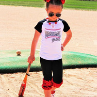 "Black/Red ""Baseball Girl"" Capri Set + Matching Bow  Infant, Baby XS-12-24 Months"