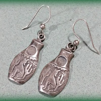 Southwest Sterling Silver Earrings Native American Pottery Style Howling Coyote Saguaro Cactus Iconic Southwestern Arizona New Mexico