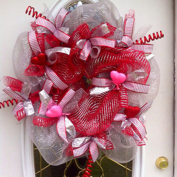 Valentine's Wreath Deco Mesh for Front Door