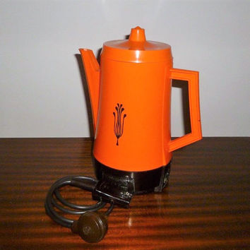 Vintage 1970s Retro Orange Coffee Percolator / General Electric Poly Brew / Electric Coffee Brewing Jug,
