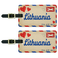 Air Mail Postcard Love for Lithuania Luggage Tag Set