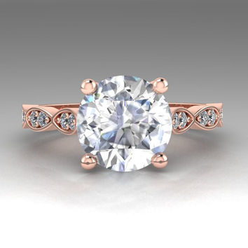 Leaves 14K Rose Gold Moissanite Diamond Engagement Ring