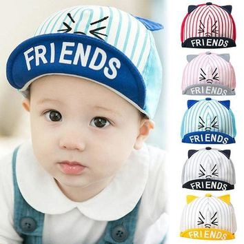 LMF78W 2017 Summer Cat Pattern Toddler Kids Infant Sun Cotton Cap Cute Baby Girls Boys Sun Beach Hat