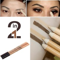 MENOW Brand Doule-ended Eye Brows and Concealer Pencil Cosmetics Waterproof Cheap Eyes Contour Eyebrow Pencil Makeup Kit