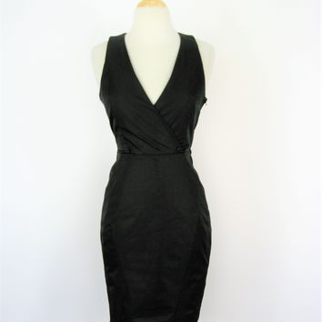 H&M Cutout Back Tuxedo Hourglass Pencil Halter Dress 2/4