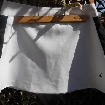 Vintage White and Black Tennis Skirt A front Monogrammed Avento Sportswear Made in Holland Medium #TENNISSKIRT